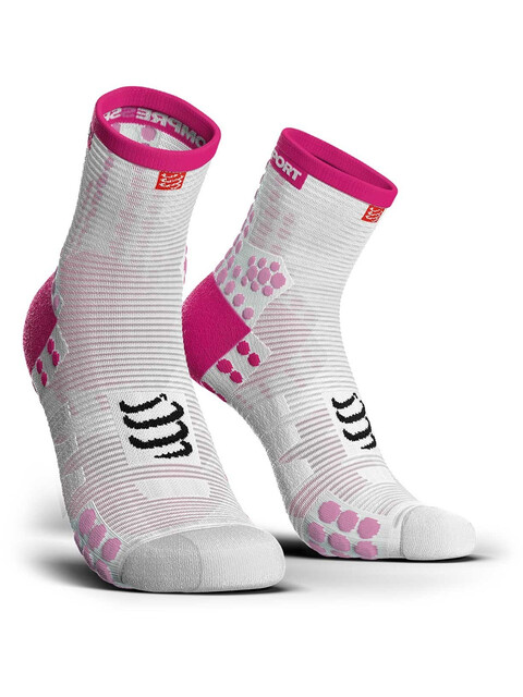 Compressport Pro Racing V3.0 Run High Socks White/Pink